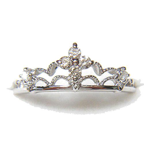 【10金】K10WG 指輪 ダイヤモンドリング【ダイヤモンド6石】【0.14ct】【レディース】★1.8g★10号【送料無料】