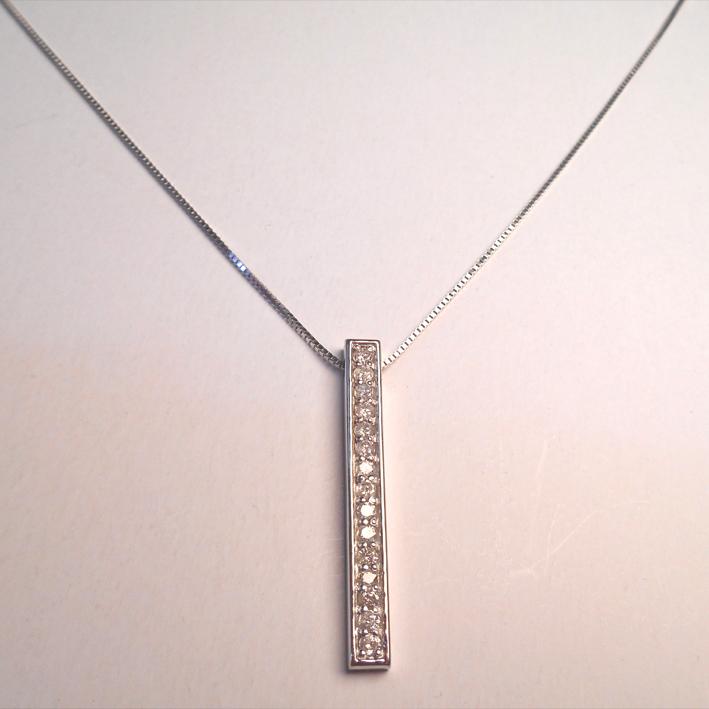 【14金】k14WG ホワイトゴールド ダイヤモンドペンダントネックレス【ダイヤ15石0.5ct】【送料無料】