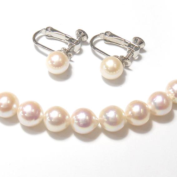 【卒業式、入学式、冠婚葬祭、フォーマル】パール真珠ネックレス・イヤリングセット【送料無料】【Pearl neck】