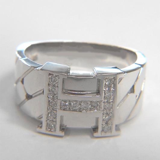 【14金 誕生日プレゼント】K14WG 指輪 ホワイトゴールドダイヤモンドリング【メンズ】【ダイヤ14石0.12ct】★7.1g★16号【送料無料】