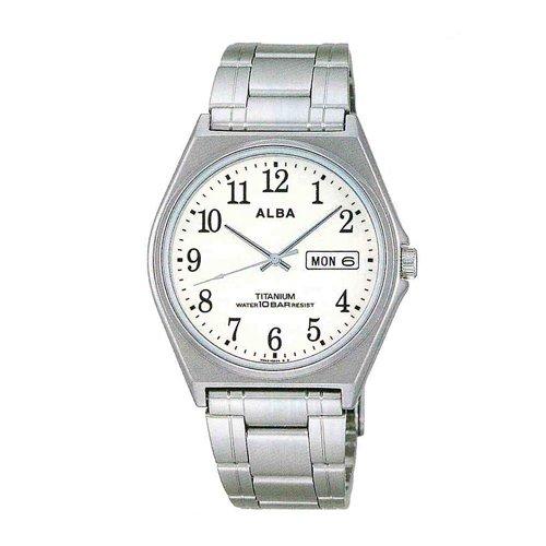 SEIKO ALBA スタンダード AEFT906 メンズ 腕時計 アイボリー シルバー ルミブライト 10気圧防水 チタン デイデイト