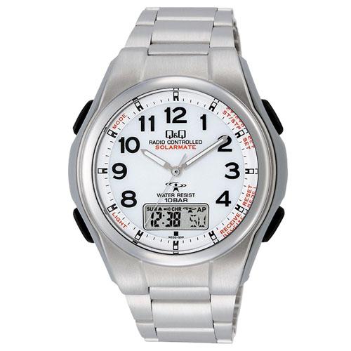 CITIZEN Q&Q 電波ソーラー腕時計 ソーラーメイト アナログ表示 クロノグラフ機能付き 10気圧防水 ブレスレットバンド ホワイト MD02-204