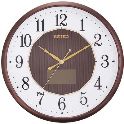 セイコー クロック 掛け時計 ハイブリッドソーラー 電波 アナログ 茶 メタリック SF241B SEIKO