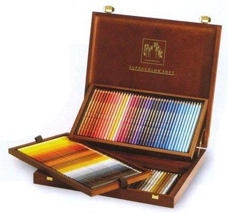 スプラーカラー ソフト 120色 木箱入りスイス製のプロタイプの水溶性色鉛筆