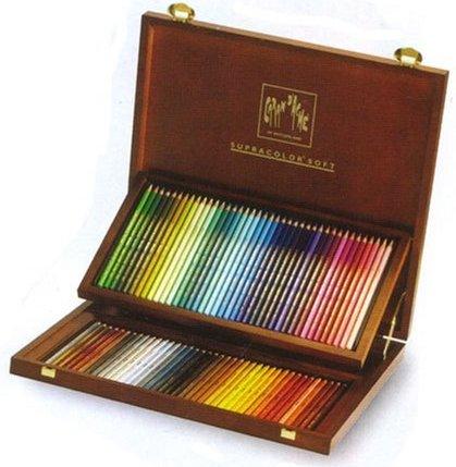 スプラーカラー  80色 木箱入りスイス製のプロタイプの水溶性色鉛筆