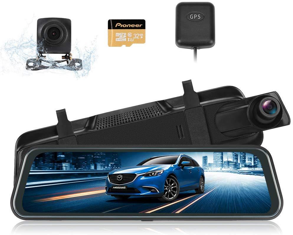 前後カメラ GPS機能搭載9.66インチ 超大きフルスクリーン タッチパネル 前170°後140°広角レンズ GPS搭載 SUNVIC ドライブレコーダー ミラー型 前後カメラ GPS機能搭載 1296PフルHD フロントカメラ 9.66インチ 超大きフルスクリーン タッチパネル 前170°後140°広角レンズ GPS搭載 ループ録画 駐車監視 動体検知 Gセンサー 暗視機能 32Gカード付き 日本語説明書付き 1年保証期間