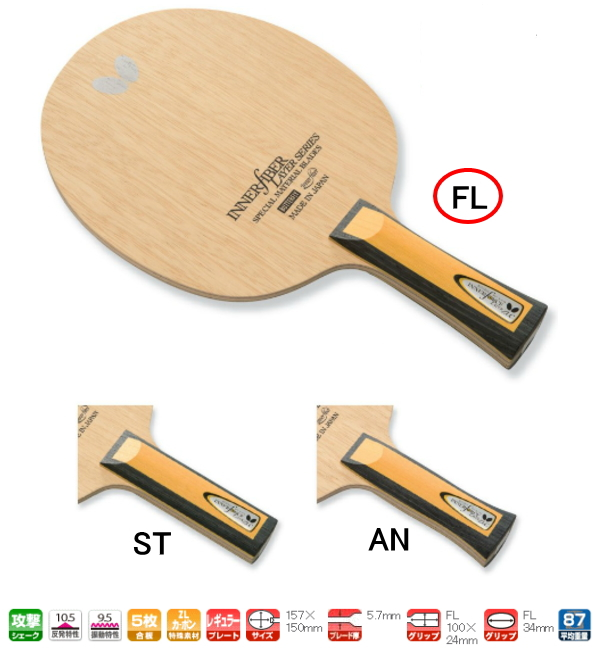 バタフライ 卓球ラケット インナーフォース・レイヤー・ZLC FL(フレア) シェークハンド BUTTERFLY 36681