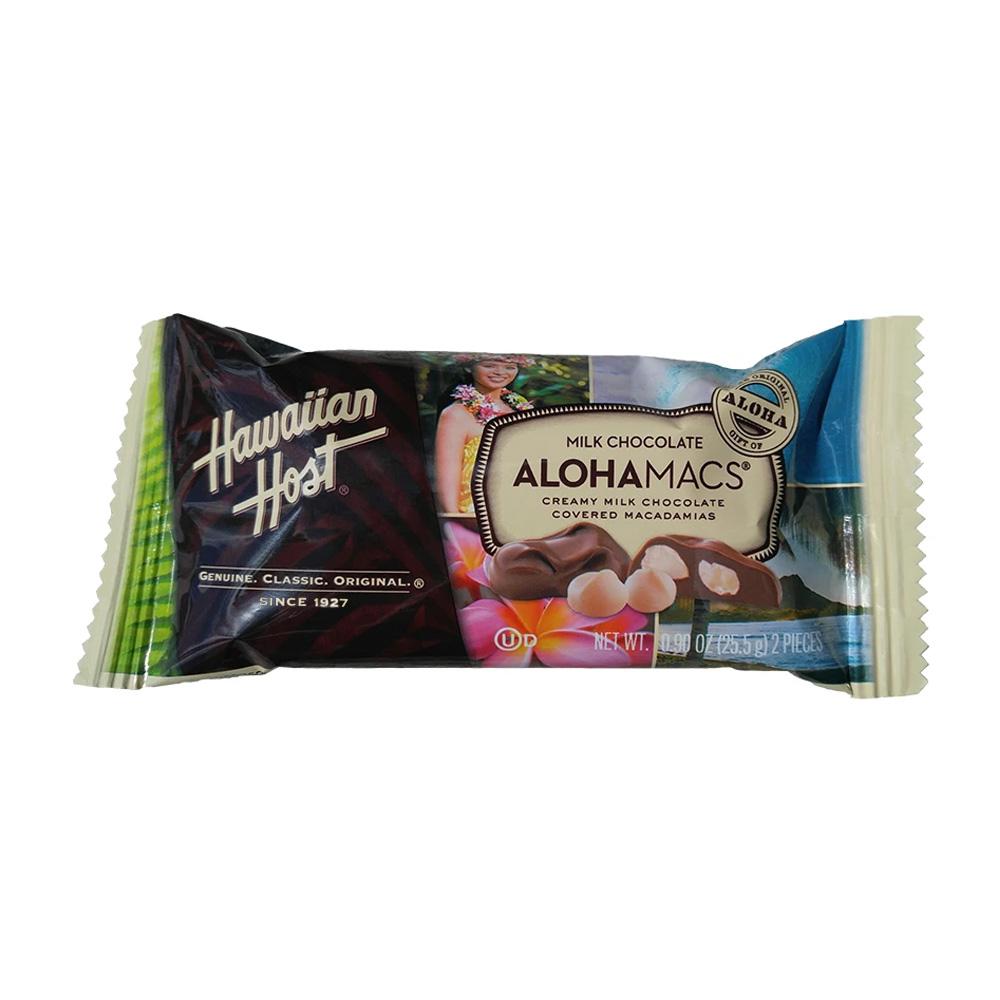 好評 送料無料 正規逆輸入品 アロハマックス ミルクチョコレート マカダミアナッツ入り 2個 26g ハワイアンホースト Hawaiian AlohaMacs 2 Host oz Milk Pieces 0.9 Chocolate