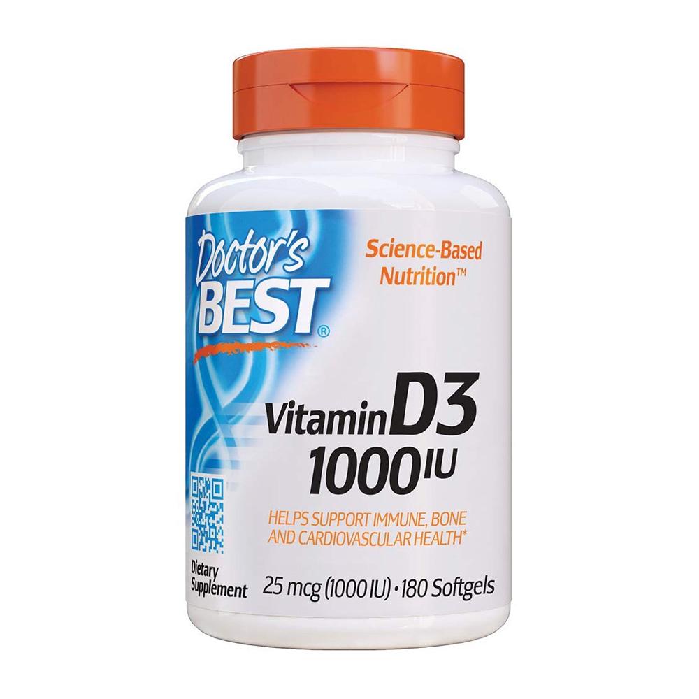 送料無料 ドクターズベスト ビタミンD3 1000IU 180粒 高級 入手困難 ソフトジェル Doctor's Best 180 Softgels 1000 D3 Vitamin IU