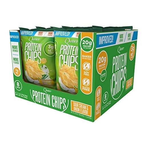 クエストニュートリション プロテインチップス サワークリーム & オニオン味 8袋 各21g 【Quest Nutrition】PROTEIN CHIPS Sour Cream&Onion 8Pack 21g