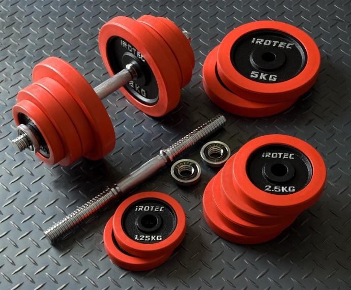 IROTEC(アイロテック)ラバーダンベル 50KG セット/筋トレ グッズ ダンベル ベンチプレス トレーニングマシン 鉄アレイ トレーニング器具 ダイエット器具 バーベル ダンベルプレート 20kg 10kg 2個セット 筋トレ器具