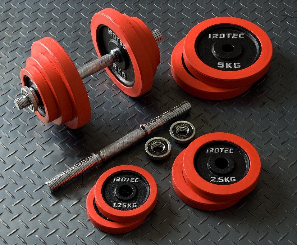 【15日はポイントアップDAY】IROTEC(アイロテック)ラバーダンベル 40kgセット/ダンベル バーベル ベンチプレス 筋トレ トレーニング器具 ダンベルプレート 鉄アレイ ダイエット器具 インクラインベンチ 20kg 2個 ダンベル20Kg