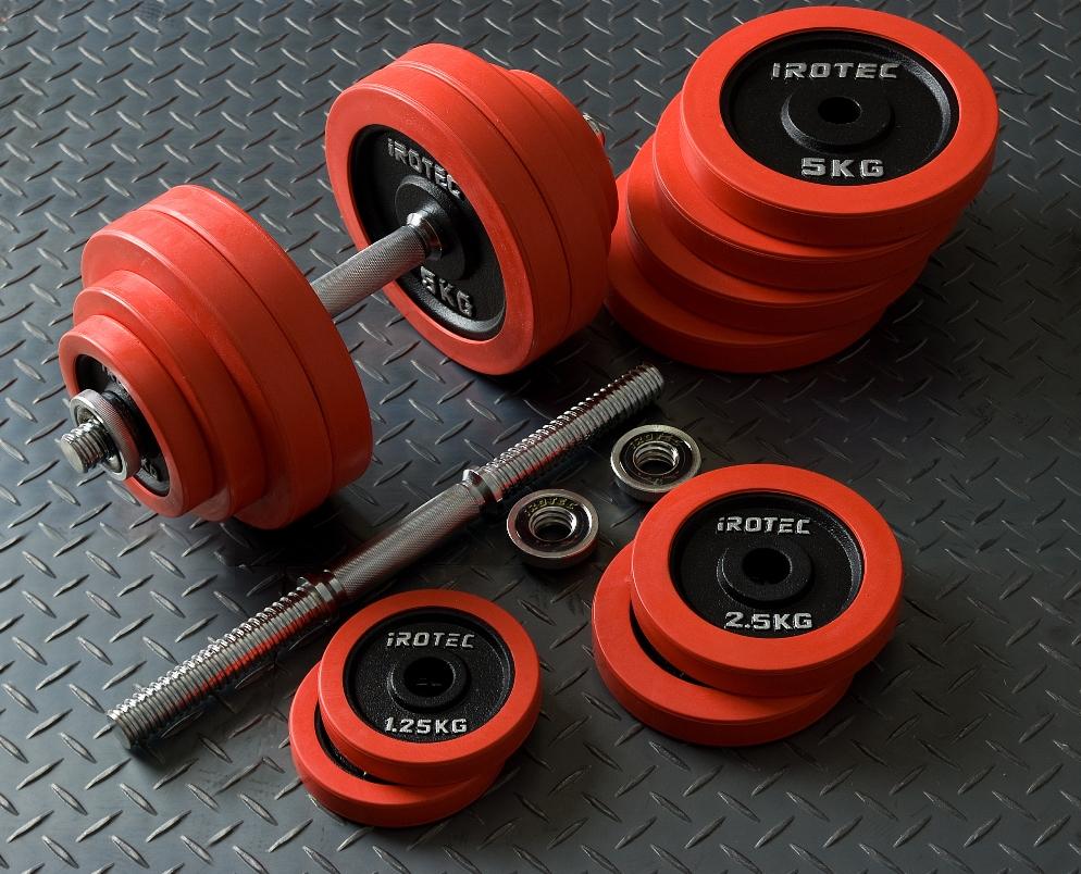 IROTEC(アイロテック)ラバーダンベル 60KG セット/ダンベル ダンベルセット 筋トレ グッズ ダンベルプレート ベンチプレス 鉄アレイ トレーニング器具 バーベル 健康器具 筋トレグッズ 筋トレ器具 30kg×2個 20kg 2個 可変式