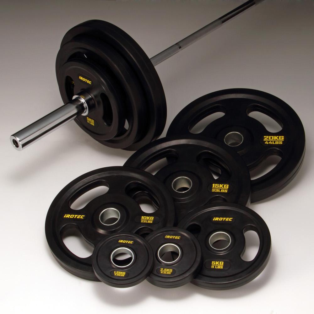 【15日はポイントアップDAY】バーベル セット【IROTEC(アイロテック)オリンピック ラバーバーベル 134kgセット】バーベルセット ベンチプレス トレーニングマシン トレーニング器具 筋トレ スクワット パワーラック 筋力トレーニング