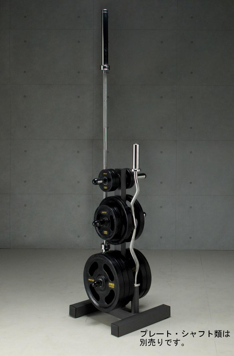 【15日はポイントアップDAY】IROTEC(アイロテック)オリンピックプレートラックHPM(径50mm専用)/シャフトとプレートを同時収納/パワーラック ダンベル バーベル ベンチプレス 筋トレ トレーニング 器具 トレーニングマシン バーベル
