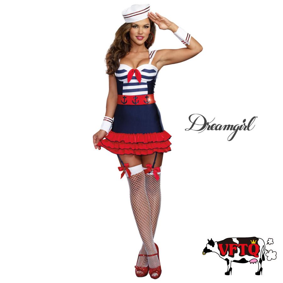 コスプレ 衣装 DreamGirl ドリームガール DG 9861 セーラー 水兵 4点セット 2019新作 正規品 マリン マリンルック 制服 船乗り コスチューム 衣装 衣裳 仮装 ミニスカ ボーダー フリル セクシー かわいい エロい ファッション おしゃれ コーデ 紺 白 セレブ 海外