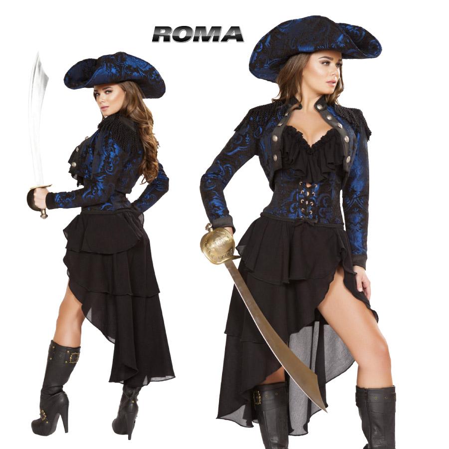 コスプレ 衣装 ROMA COSTUME ローマ RM4652 海賊 パイレーツ4点セット 正規品 ジャックスパロウ フック 船長 キャプテン クック コスチューム 衣装 衣裳 仮装 ゴージャス かっこいい セクシー かわいい ファッション おしゃれ コーデ ハロウィン セレブ 海外