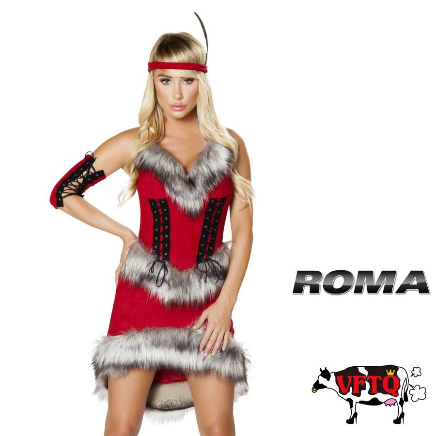 コスプレ 衣装 ROMA COSTUME ローマ RM 4705 インディアン 3点セット 2019新作 正規品 ウエスタン 西部劇 カウボーイ カウガール コスチューム 衣装 衣裳 仮装 ワンピース ファー もふもふ セクシー かわいい ファッション おしゃれ コーデ レッド 赤 セレブ 海外