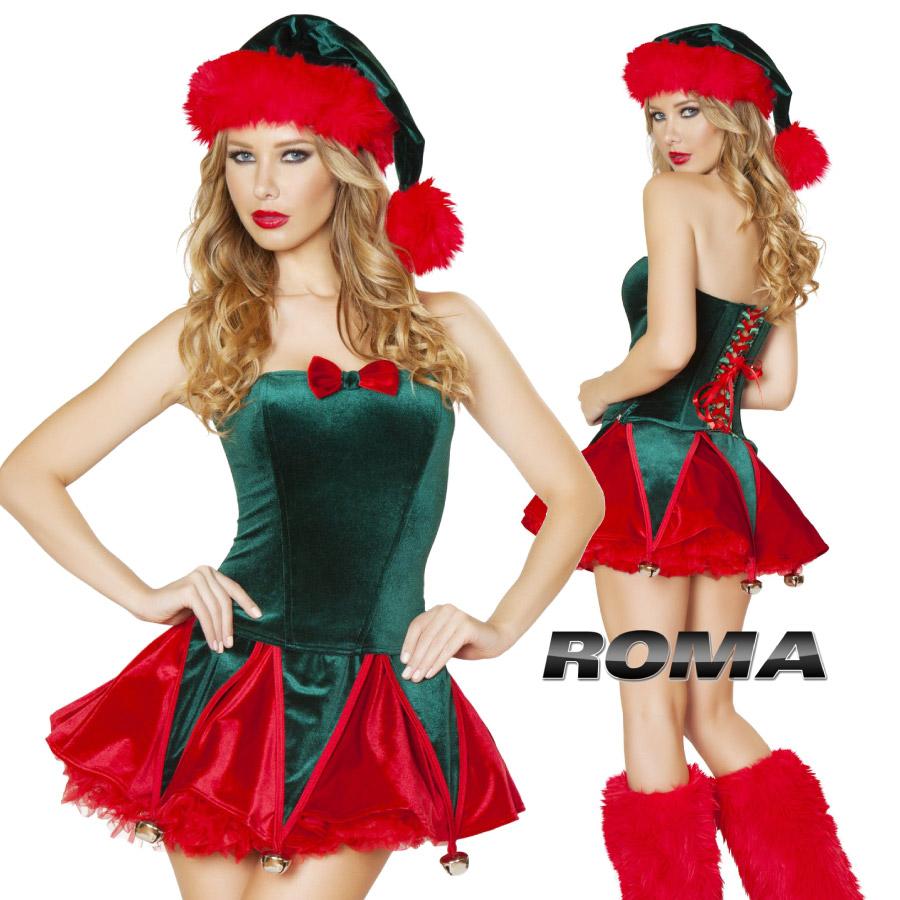 コスプレ 衣装 ROMA COSTUME ローマ RM C173 クリスマス 妖精 エルフ 2点セット 正規品 サンタ サンタクロース コスチューム 衣装 衣裳 仮装 ビスチェ パニエ チュチュ ベロア 鈴 ベル かわいい セクシー ファッション おしゃれ コーデ レッド グリーン ハロウィン 海外