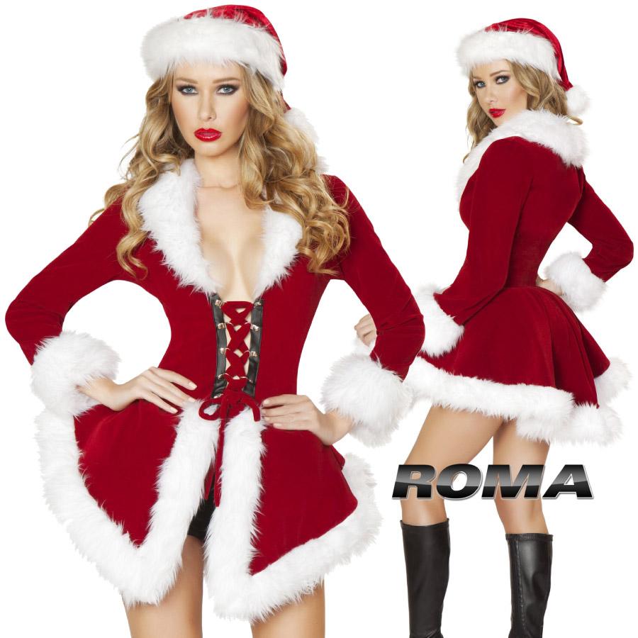 コスプレ 衣装 ROMA COSTUME ローマ RM C177 クリスマス サンタ 2点セット サンタクロース SANTA santa 正規品 コスプレ衣装 仮装 大人用 コスチューム ハロウィン costume メイク 派手 セクシー ダンス ドレス フェス