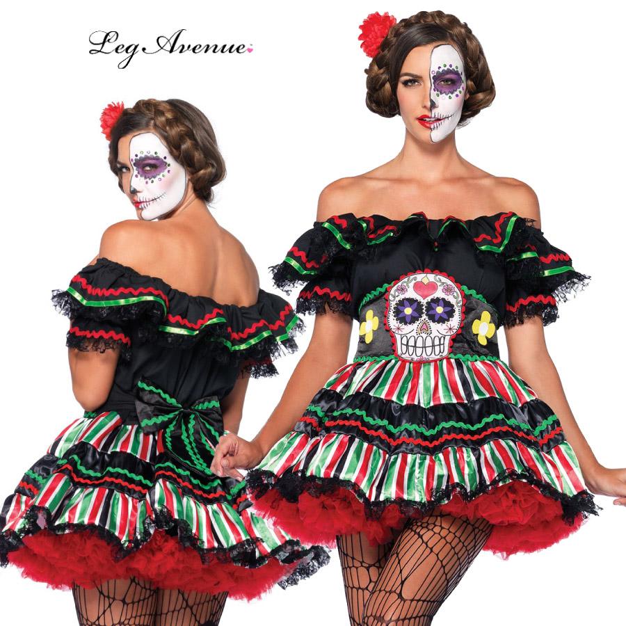 コスプレ 衣装 LEG AVENUE レッグアベニュー LA 85293 デッドドール 2点セット 正規品 死者の日 ガイコツ ドクロ カラベラ コスチューム 衣装 衣裳 仮装 かわいい セクシー ファッション カラフル おしゃれ コーデ アニメ メキシコ ハロウィン セレブ 海外