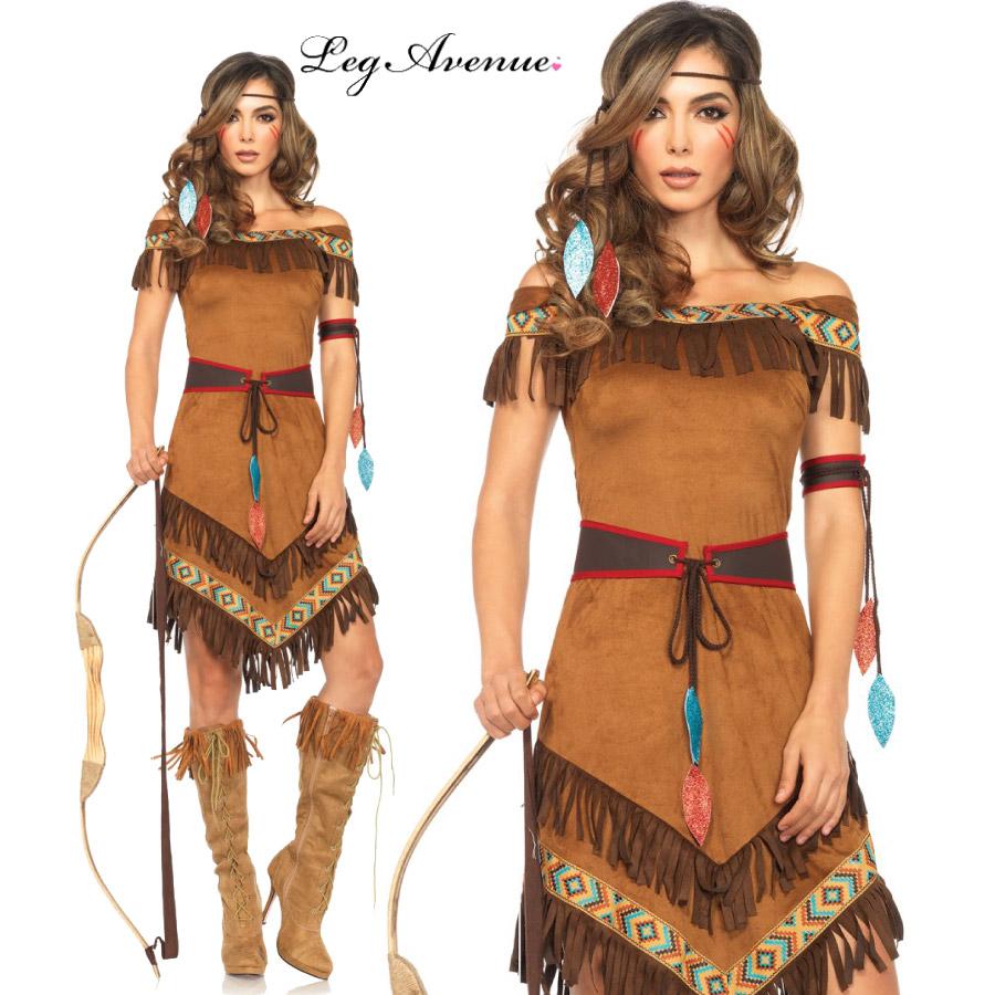 コスプレ 衣装 LEG AVENUE レッグアベニュー LA 85398 インディアン 4点セット 正規品 ネイティブ アメリカン 民族 コスチューム 衣装 衣裳 仮装 フリンジ ドレス セクシー かわいい ファッション おしゃれ コーデ ブラウン 茶色 ハロウィン セレブ 海外