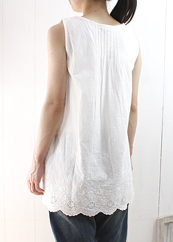 Slone square スロンスクエア scalloped lace sleeveless tunic (6,706) ladies