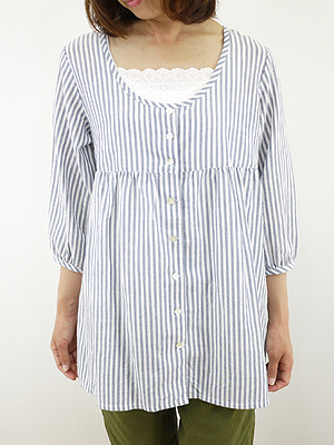 Slone square スロンスクエア striped blouse / tunic-8525, Japan ladies