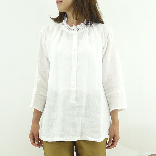Slone square スロンスクエア East Cook linen lace collar ヘンリーネックプル blouse-8591 ladies