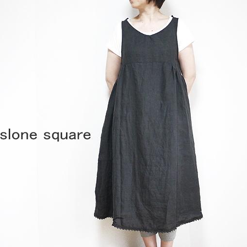☆最安値に挑戦 slone square スロンスクエア 8646 10%OFF 裾レース付きワンピース 東炊きリネン 衿 クーポンで10%~30%オフ4日20時まで