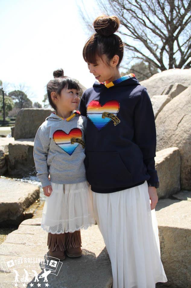 【 親子ペアパーカー 】メキシカンサラペのハートデザインおそろいでご購入で\1,000引き+送料無料!ママと子供のお揃いファッション♪♪着やすいプルオーバー!【smtb-k】
