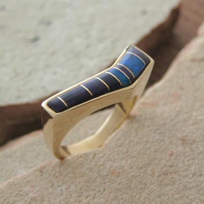 ローリー ハコラ ブルー オパール際立つデザイン 一点もの 期間限定お試し価格 マーケット 天然石ゴールド ブルーオパール オーストラリアン リング 11号LAN0855180BU11 スギライト