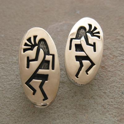 インディアンマーケット買付 ホピ族 ココペリ 内祝い デザイン スターリング タイプ お金を節約 クリップ A00454 シルバー14Kゴールド イヤリングA00326