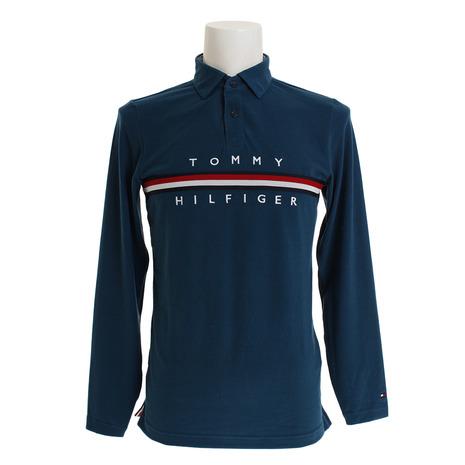 トミーヒルフィガー(TOMMY HILFIGER) ゴルフウェア メンズ BRUSHEDストレッチロゴ 長袖ポロシャツ THMA8A1-GRN (Men's)