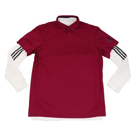 アディダス(adidas) デボスロゴ レイヤード ボタンダウンシャツ FYO93-EH3629ベリ/W (Men's)