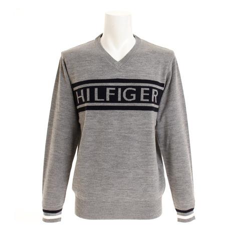 【エントリーでポイント10倍~!2月1日0:00~23:59まで】トミーヒルフィガー(TOMMY HILFIGER) ゴルフウェア メンズ HILFIGER Vネック ニット セーター THMA888-GRY (Men's)