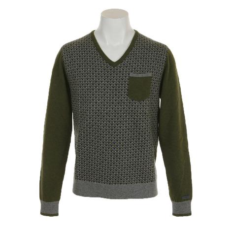 ディマッティア(DIMATTIA) ゴルフウェア メンズ 長袖セーター Pixel V 6M4004 KHK (Men's)