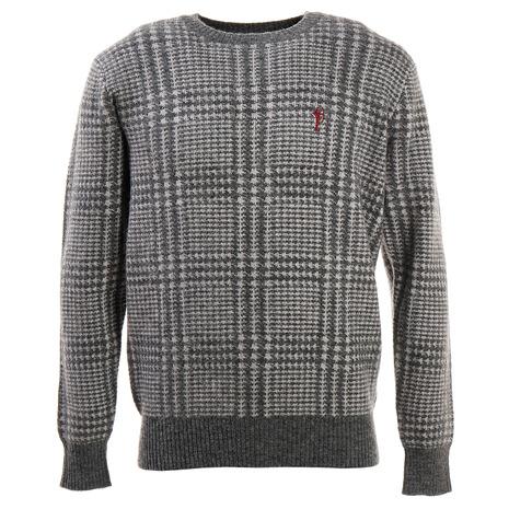 フィドラ(FIDRA) ゴルフ セーター メンズ アルパカチェックセーター FV38VJ05 GRY (Men's)