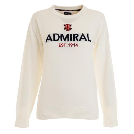 アドミラル(Admiral) ゴルフウェア レディース ロゴ クルーネックニット ADLA982-WHT (Lady's)