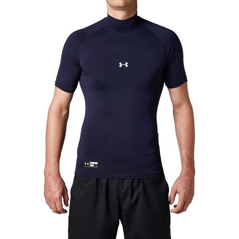 スーパースポーツゼビオ市場店 アンダーアーマー UNDER ARMOUR 野球 アンダーシャツ 半袖 ヒートギア 1313256 ネイビー (訳ありセール 格安) メンズ MDN アーマーコンプレッション BB セール特価品 モック