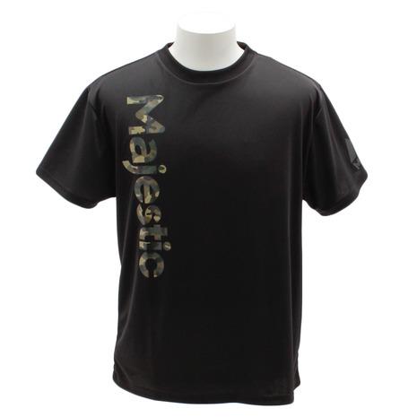 スーパースポーツゼビオ市場店 新商品 MAJESTIC MJ TEAM 野球ウエア Tシャツ レギュラーTシャツ Tシャツ ウェア 野球 メンズ スポーツ 豪華な 一般 半袖 CM01-MC-9S02-BK カモプリントPEメッシュ