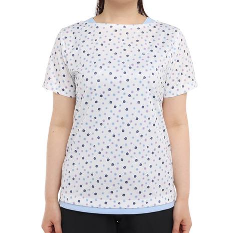 ウィッテム お洒落 HUITIEME テニス Tシャツ レディース 半袖 HU20S03LS733007WHT UVカット 吸汗速乾 プリンテッド 新入荷 流行
