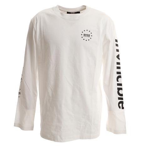 SY32 ワールドスター マルチグラフィック ロングスリーブTシャツ 9129T WHT (Men's)