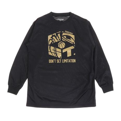 大幅値下げランキング エックスティーエス XTS ジュニア ドライ 吸汗速乾 751G0ES1644 キッズ 100%品質保証! バスケットボールウェア 長袖Tシャツ BLK