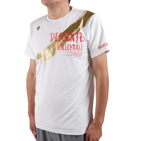 デサント ※アウトレット品 DESCENTE バレーボールウェア DPP半袖プラクティスシャツ DX-B0946XB WH 爆売り レディース メンズ