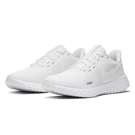 ナイキ(NIKE) スニーカー レボリューション 5 BQ3207 104 ランニングシューズ  白靴 白スニーカー 通学靴 (レディース)