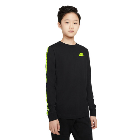 tシャツ 5%OFF 新品未使用正規品 長袖 キッズ カットソー ナイキ NIKE DC7581-010 長袖Tシャツ テーピング YTH NSW