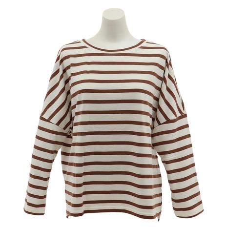 パワー 新作通販 トゥ ザ ピープル POWER TO THE PEOPLE アウトドア カジュアル 配色ボーダー Tシャツ ゆったり 定価の67%OFF 長袖 9712513-32BRW レディース