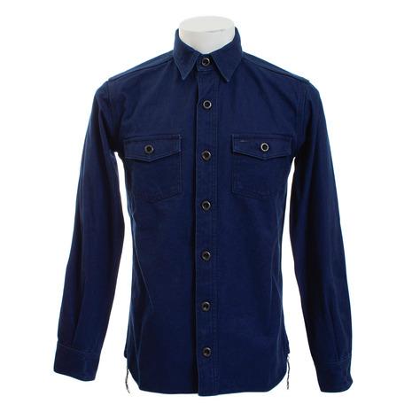 桃太郎 オックスフォード・ワークシャツ インディゴ×ブラック 05-184 (Men's)