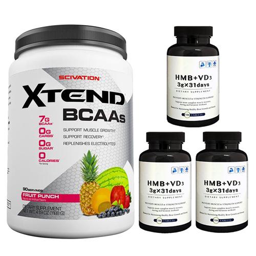 【超お得セット】[大容量約1.2kg]エクステンド(BCAA+Lグルタミン+シトルリン)※フルーツパンチ(1個)&HMB+VD3(3個)
